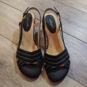 NWOT SoftSpots black wedge sandal